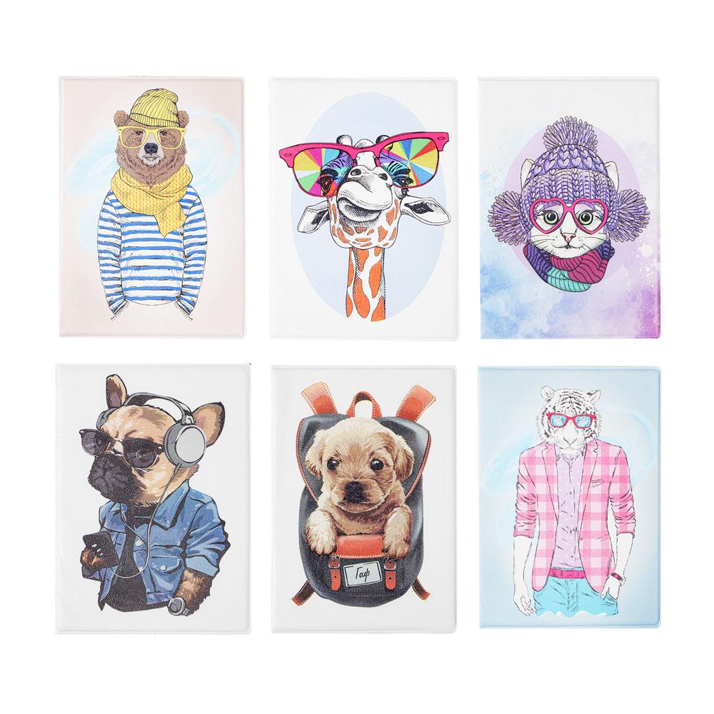 Обложка для паспорта с отд.для карт, ПВХ, 13,7х9,6см, 2-6 дизайнов, DC2018-2