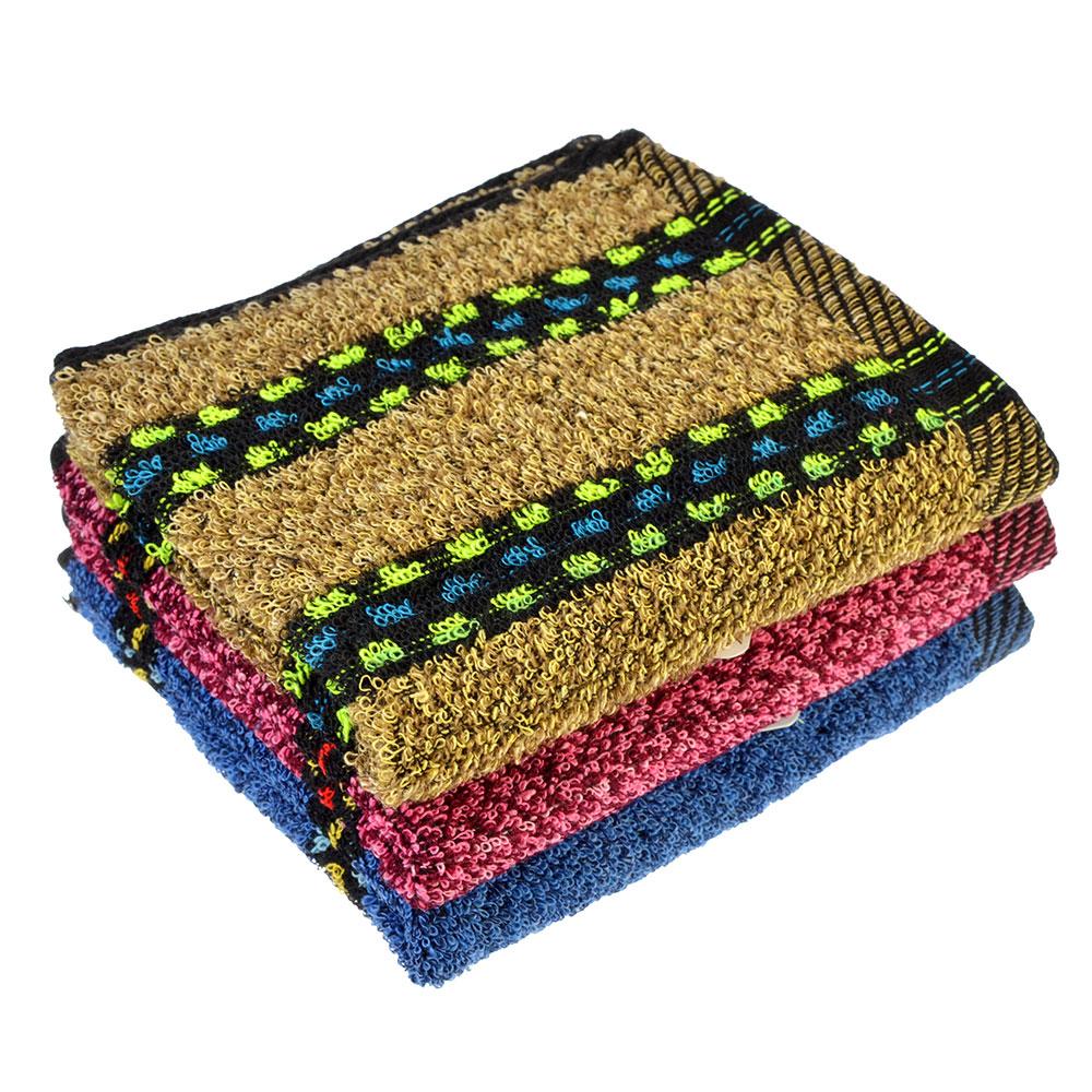 """Полотенце для рук махровое, хлопок, 30х70см, 3 цвета, """"Полоска"""""""