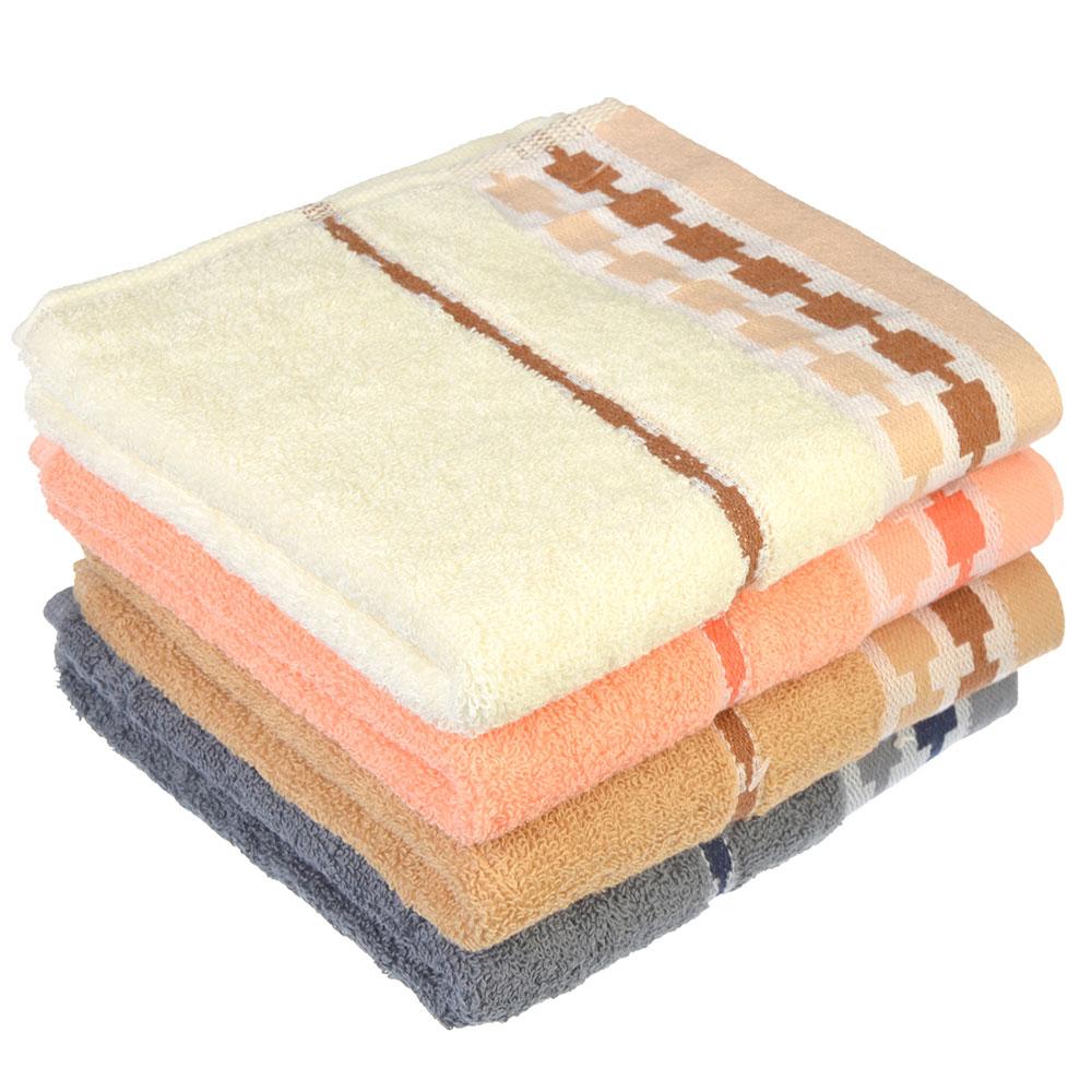 Полотенце махровое, 100% хлопок, 34х73см, однотонное с бардюром, 4 цвета