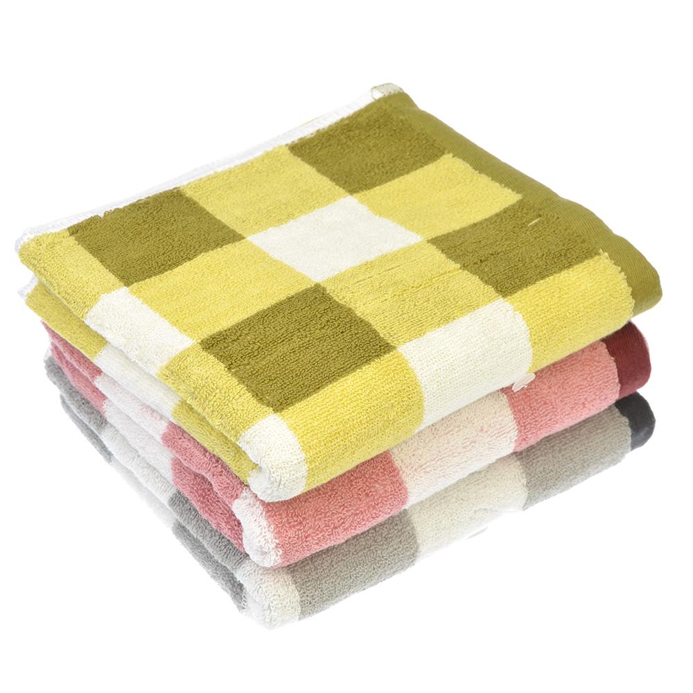 """Полотенце для рук махровое, хлопок, 33х75см, 3 цвета, """"Клетка"""""""