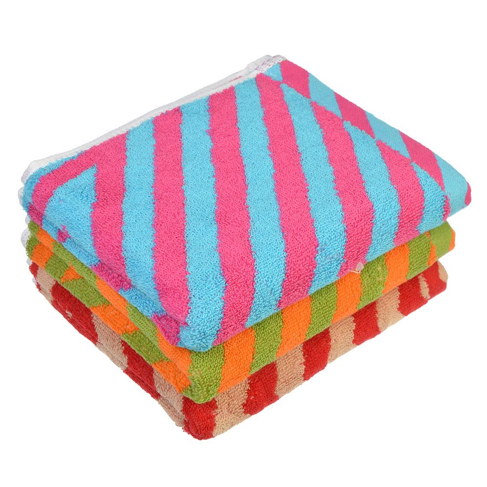 """Полотенце для рук махровое, хлопок, 34х73см, 3 цвета, """"Полоска"""""""