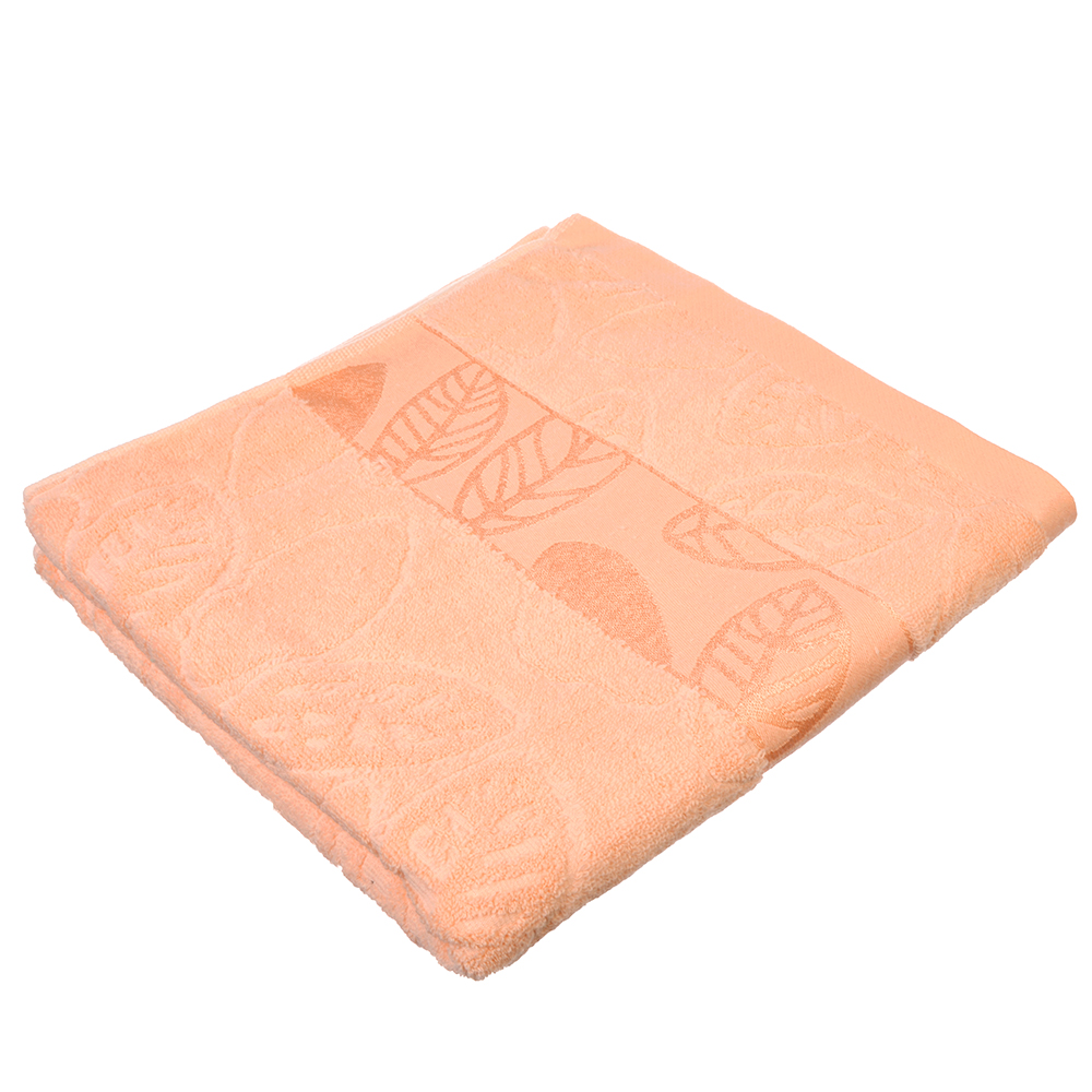 """Полотенце банное махровое, хлопок,  70х140см, 4 цвета, """"Листья"""""""