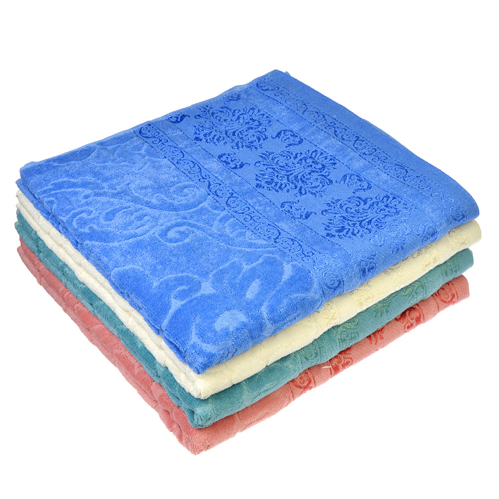 "Полотенце баннер махровое, хлопок,  70х140см, 4 цвета, ""Бамбук"""