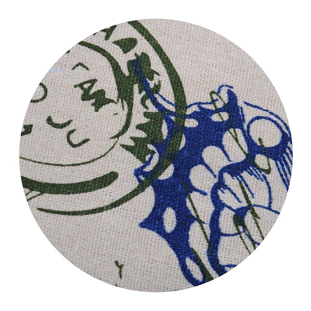 Скатерть на стол льняная с кружевом круглая, полиэстер, d140см