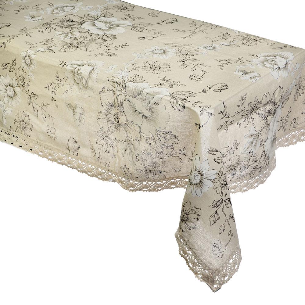 Скатерть на стол льняная с кружевом круглая, полиэстер, d160см