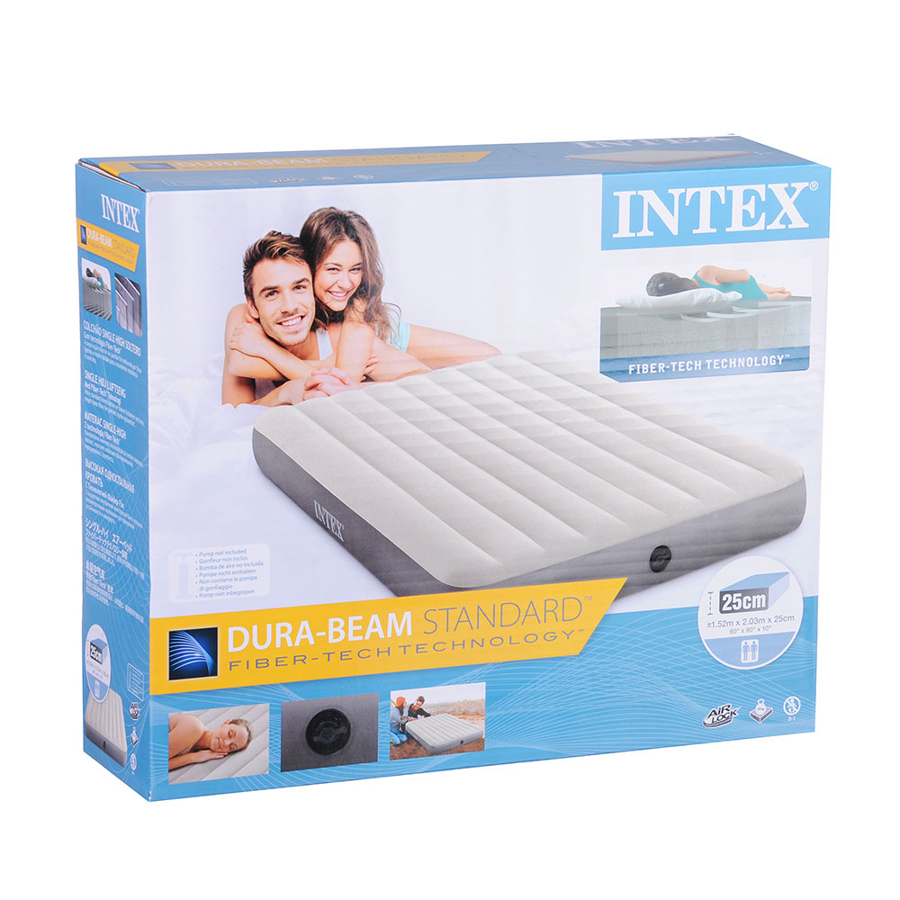 INTEX Кровать надувная QUEEN DELUXE SINGLE-HIGH,152х203х25см, 64103