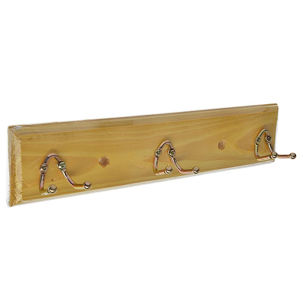 Вешалка настенная, 3 двойных крючка, дерево, металл, 29х6,5х6см, белый, лак,VETTA