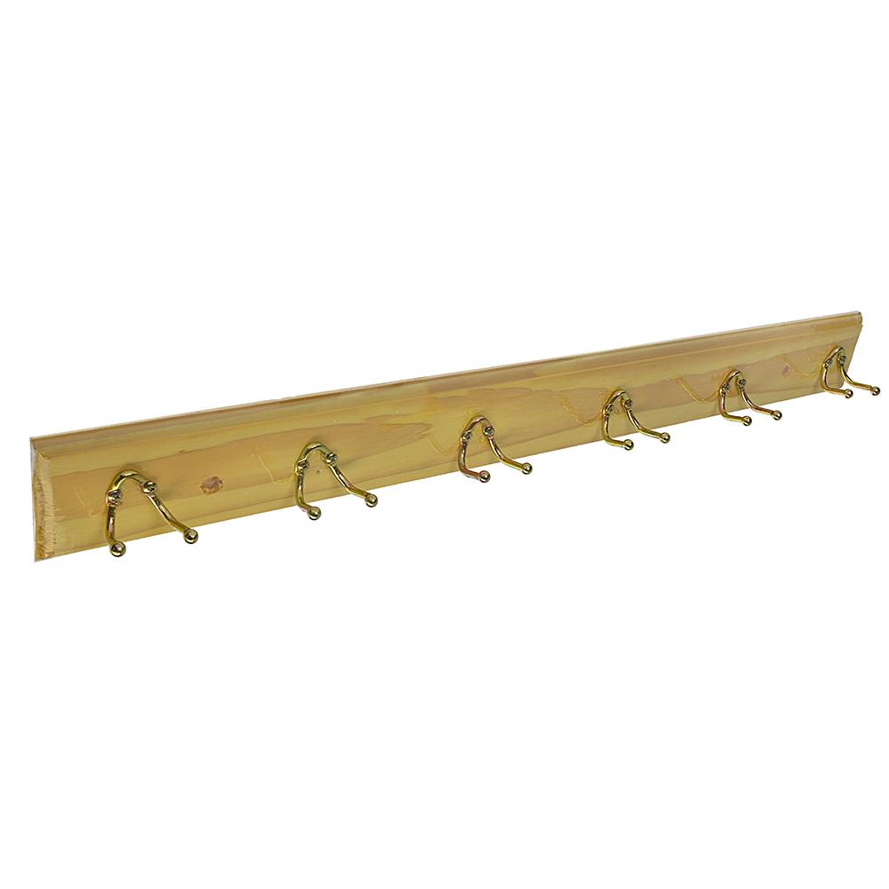 Вешалка настенная, 6 двойных крючков, 59х6,5х6см, лак, VETTA