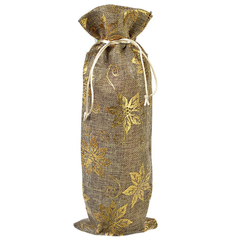 Мешочек из джута с золотинкой для бутылки вина, 14x37см, 3 дизайна