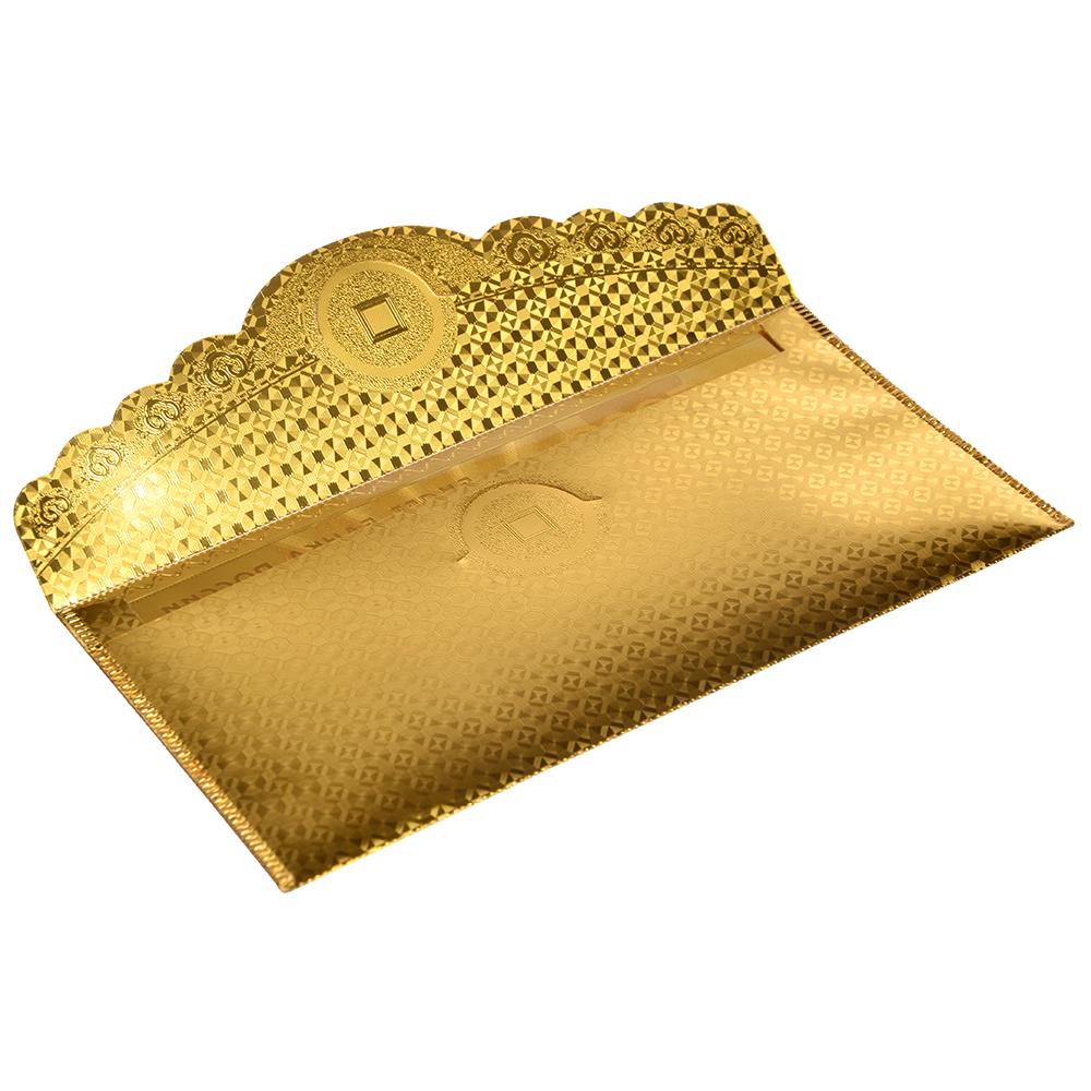 Конверт для денег золотой с изображением денег, пластик, 9x18см, 2 дизайна, дизайн ГЦ