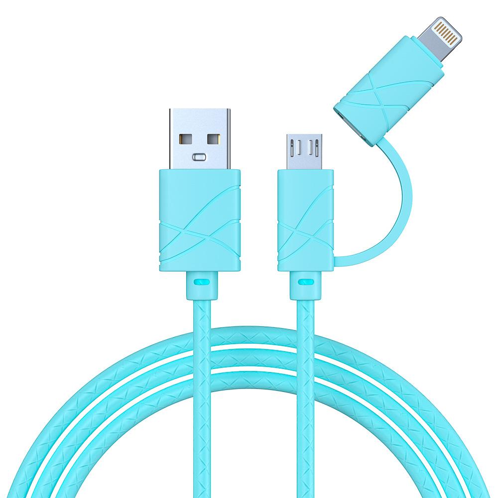 FORZA Кабель для зарядки 2 в 1, Micro USB и iP, 1 м, 2А, плоский кабель, колпачки для штекеров, 2 цв