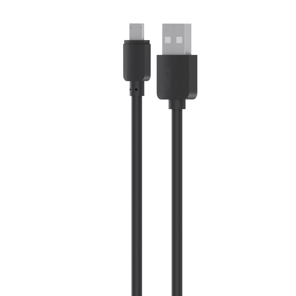 Кабель для зарядки Micro USB, 0,8м, 1A, прорезиненный, черный