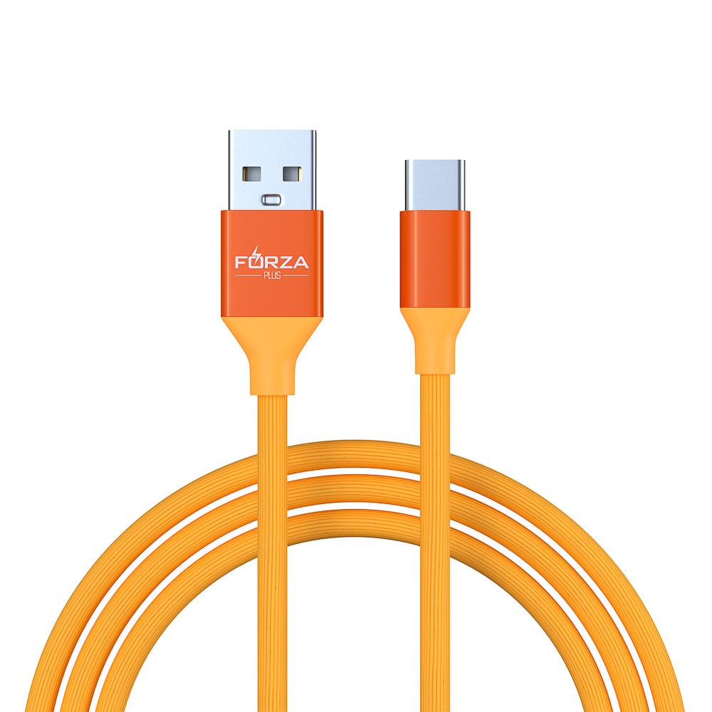 FORZA Шнур для зарядки USB Type-C Прорезиненный Цветной, 1М, 2A