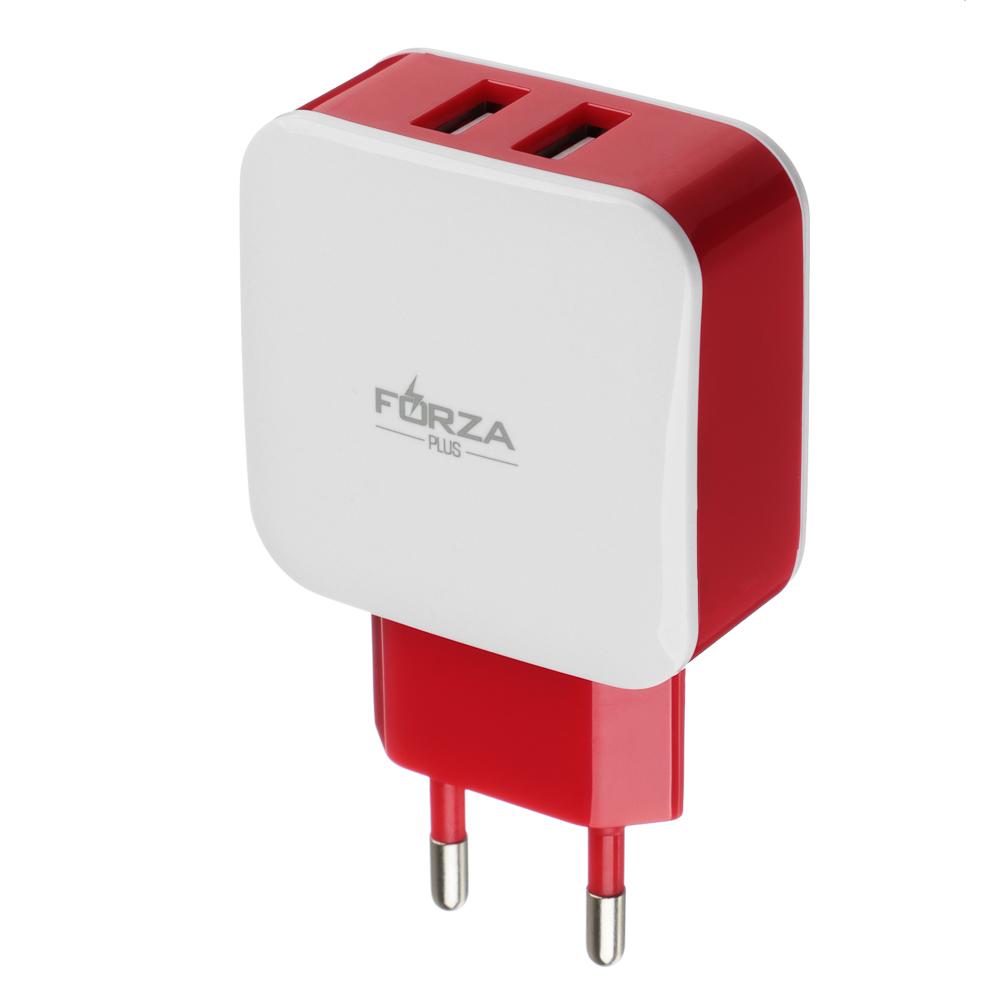 Зарядное устройство FORZA 2 USB, 2А, 220 V, пластик