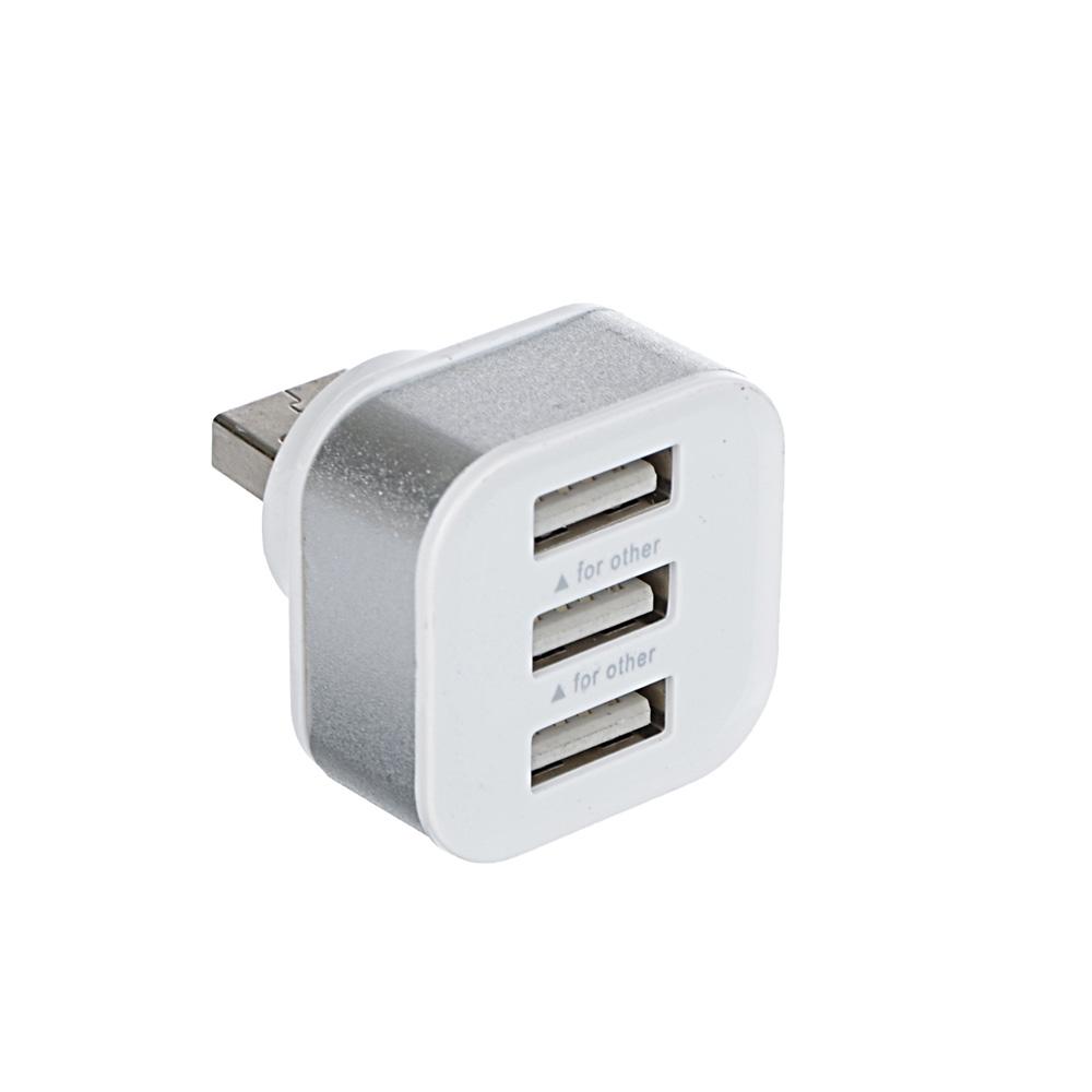 FORZA Зарядное устройство USB, 3USB, 1А, белый с серебр.