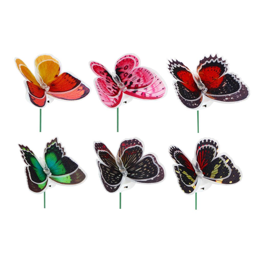 """INBLOOM Украшение светодиодное """"Бабочка"""", ПВХ, 10см, LR44x3, 6 цветов"""
