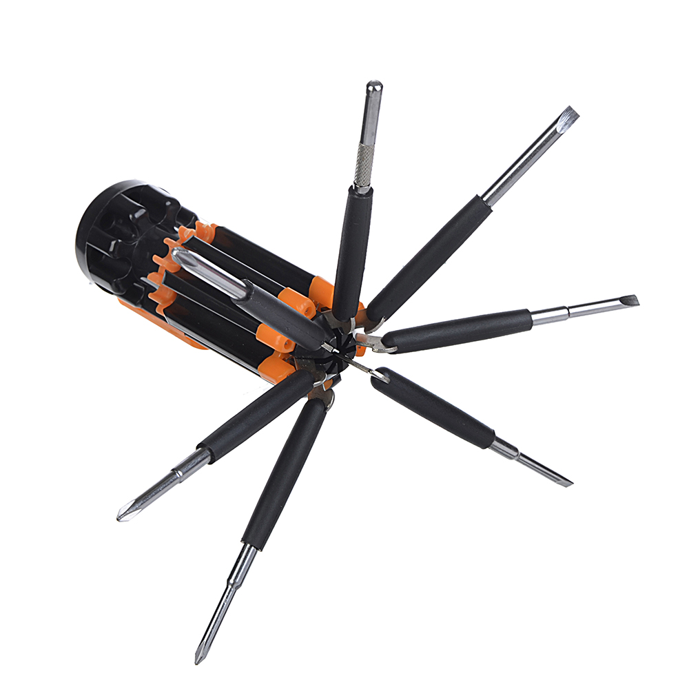 ЕРМАК Фонарь многофункциональный 8 в 1, набор отверток, 4 LED + 3 батарейки ААА, блистер