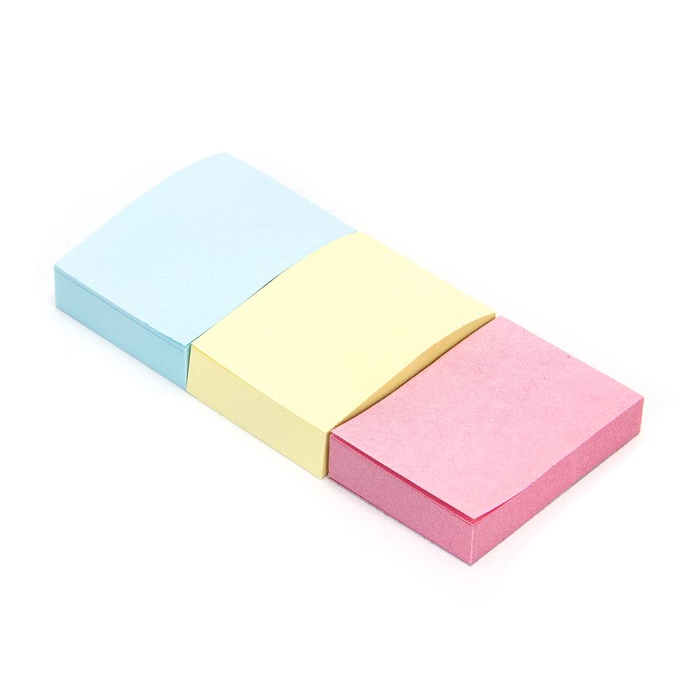 Блок для записей с клеевым краем, 38x51 мм, 100 листов, 3 блока в упаковке, 3 цвета, ClipStudio