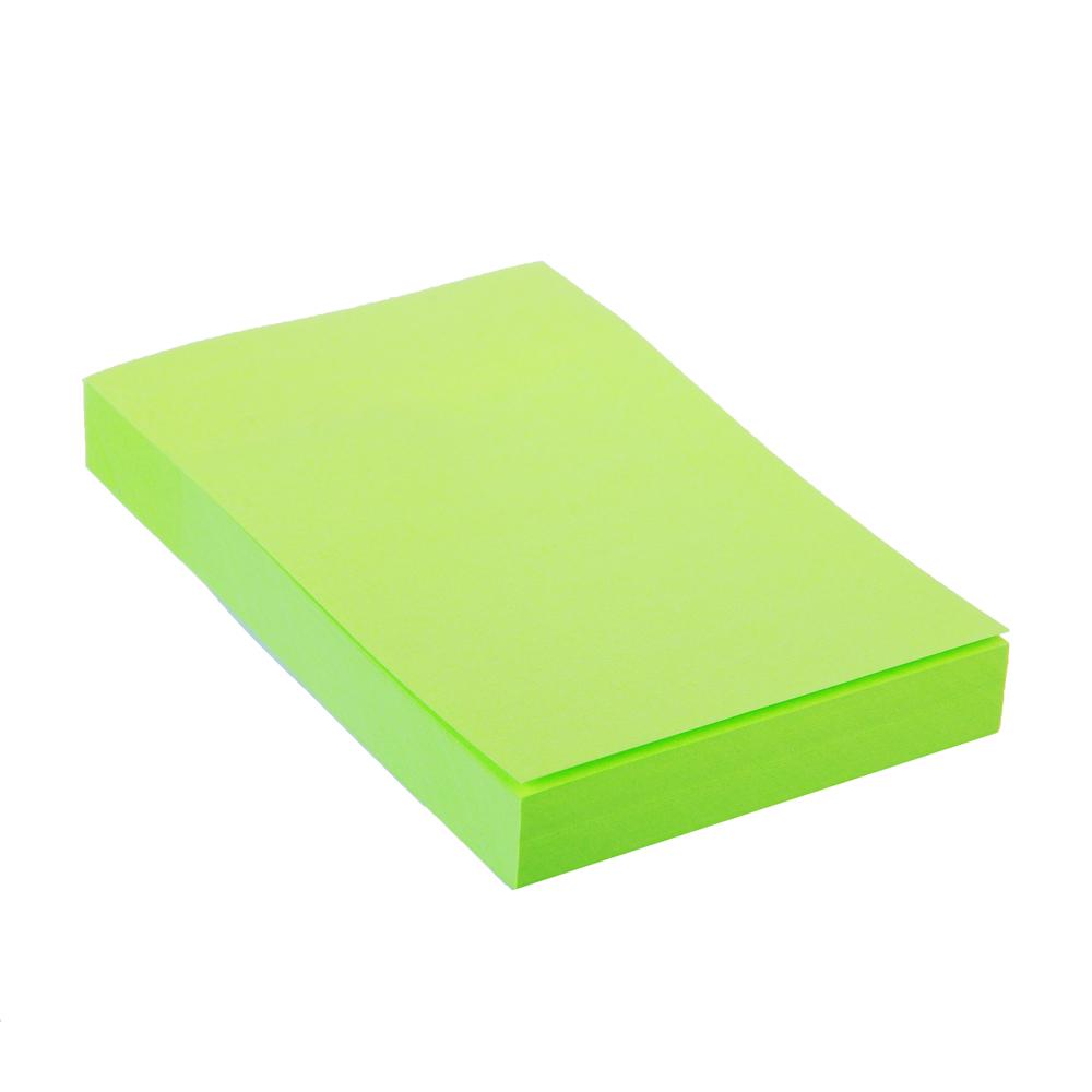 Блок с клеевым краем неоновый 51x76мм, 100 листов, зеленый, ClipStudio