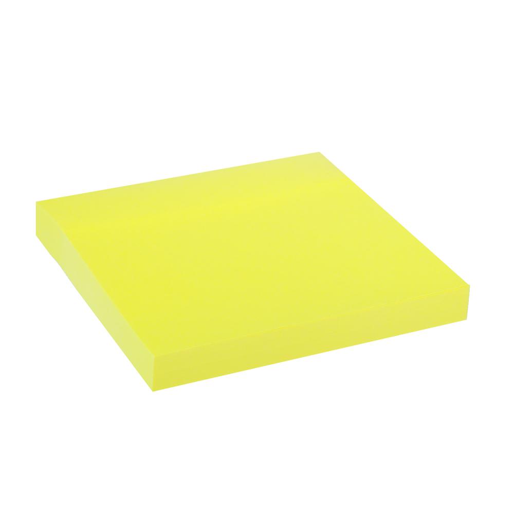 Блок с клеевым краем неоновый 76x76мм, 100 листов, желтый, ClipStudio