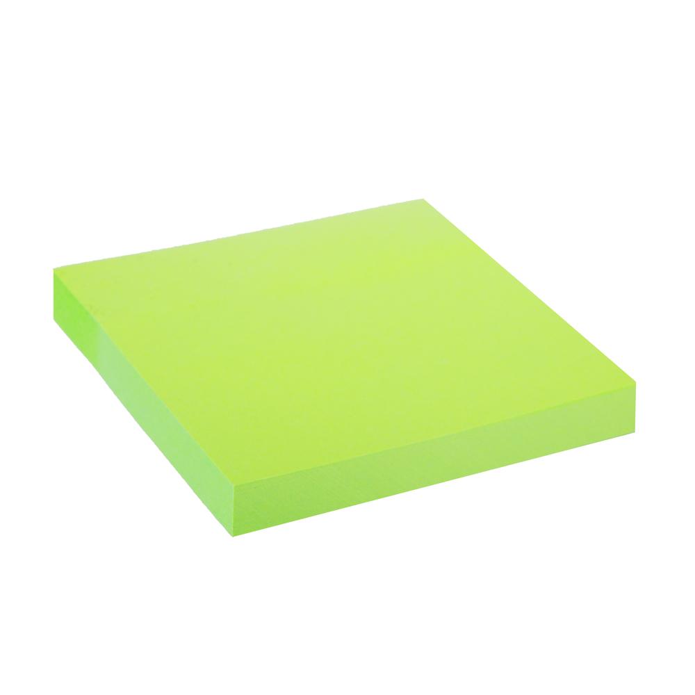 Блок с клеевым краем неоновый 76x76мм, 100 листов, зеленый, ClipStudio