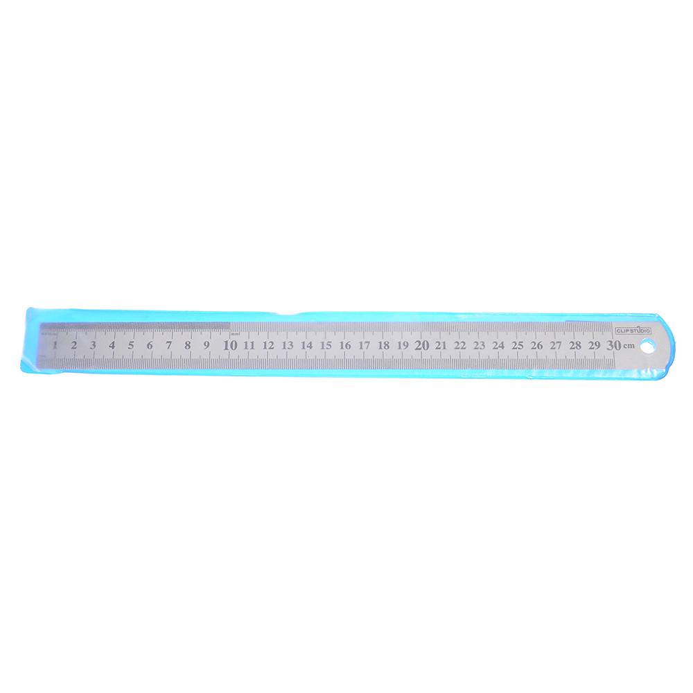 Линейка стальная 30 см, толщина 0,5 мм, в пластиковом чехле ClipStudio