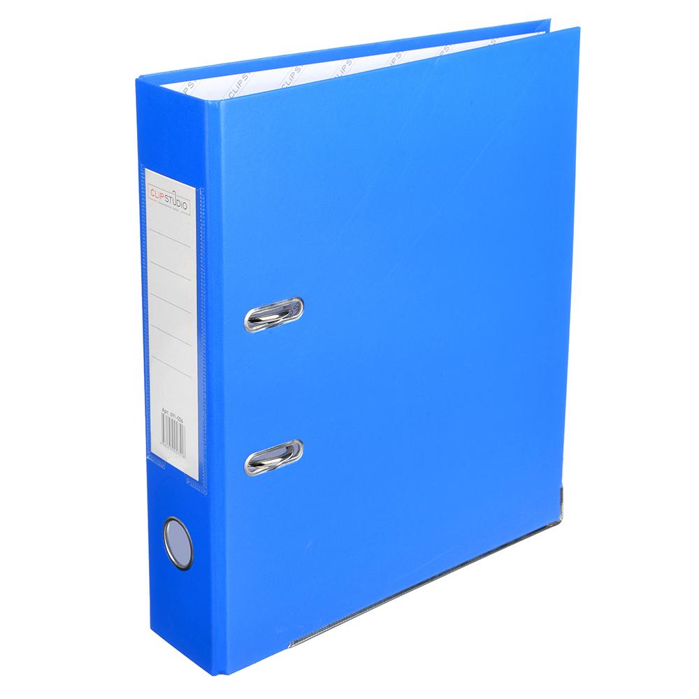Папка с арочным механизмом A4 синяя, корешок 7,5 см РР, с металлической окантовкой, ClipStudio