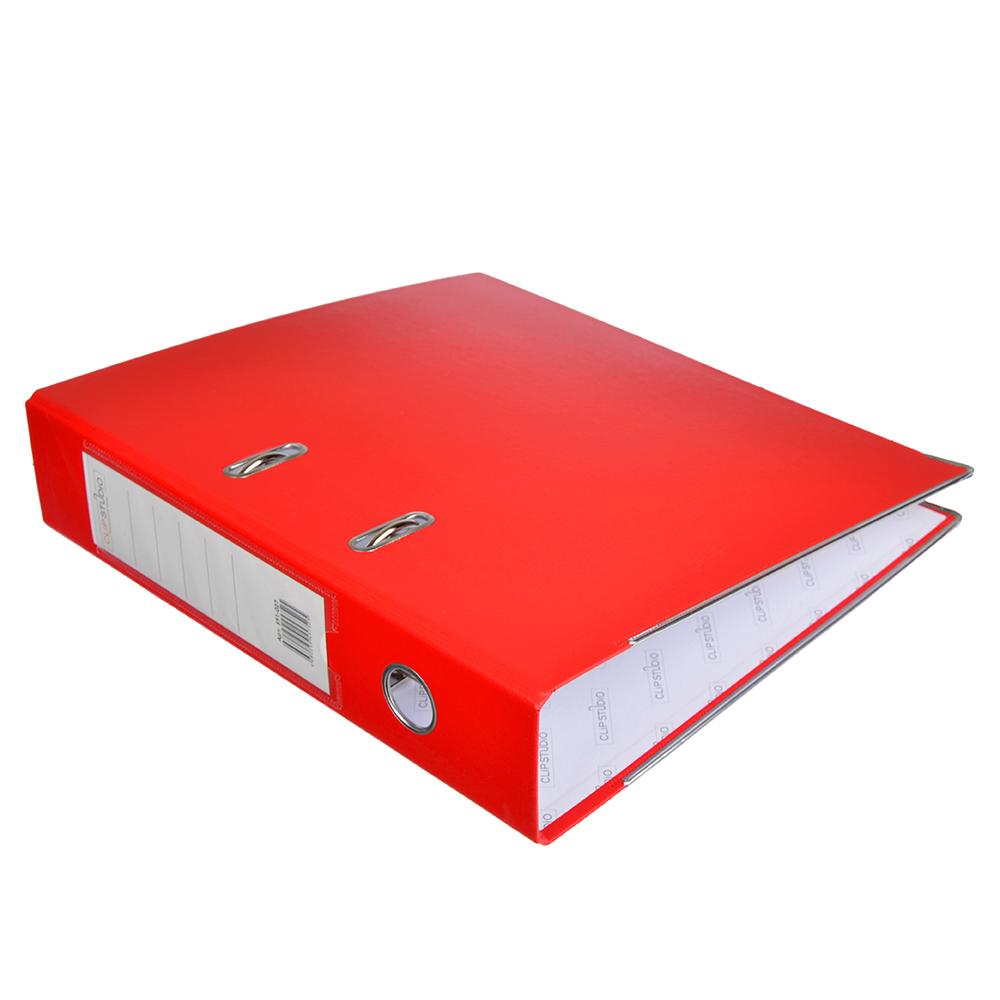 Папка с арочным механизмом A4 красная, корешок 7,5 см РР, с металлической окантовкой, ClipStudio
