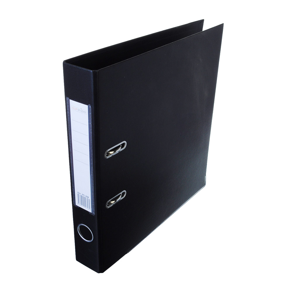 ClipStudio Папка с арочным механизмом A4 корешок 5см двойной PP, с мет.окантовкой, черная