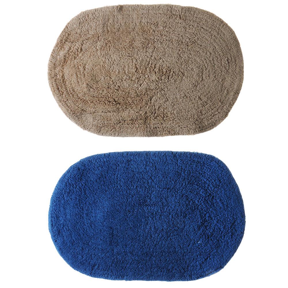Коврик для ванной Овал 40х60см, хлопок, б/п, микс 2 цвета: бежевый, синий