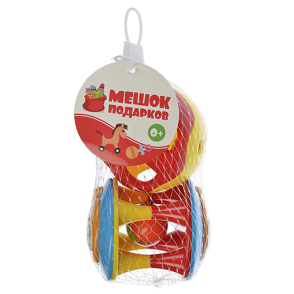 МЕШОК ПОДАРКОВ Погремушка Веселый шарик, 2шт., пластик, 10х20х8см, 2 дизайна