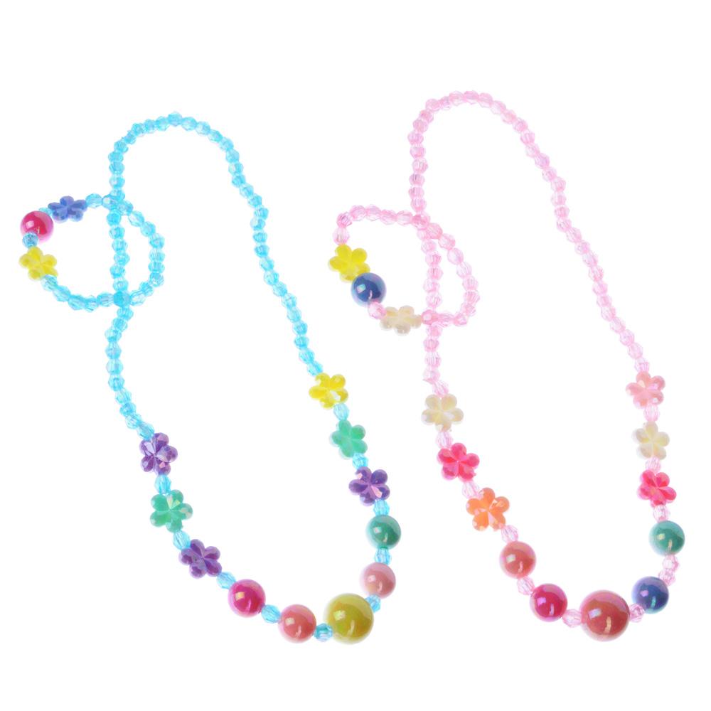 Комплект детской бижутерии: бусы, браслет, пластик, 2 цвета, #1
