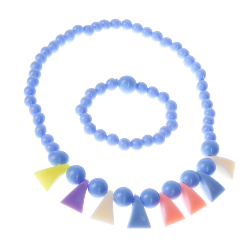 Комплект детской бижутерии: бусы, браслет, пластик, 3 цвета, #3