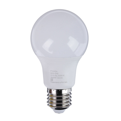 FORZA Лампа светодиодная A60, 6W, 3000K, 510lm E27