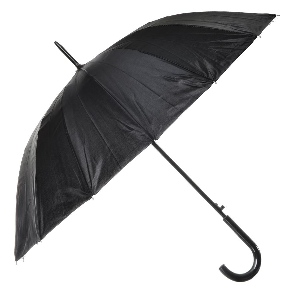 Зонт-трость мужской, металл, полиэстер, 16 спиц, 55см, черный, #34