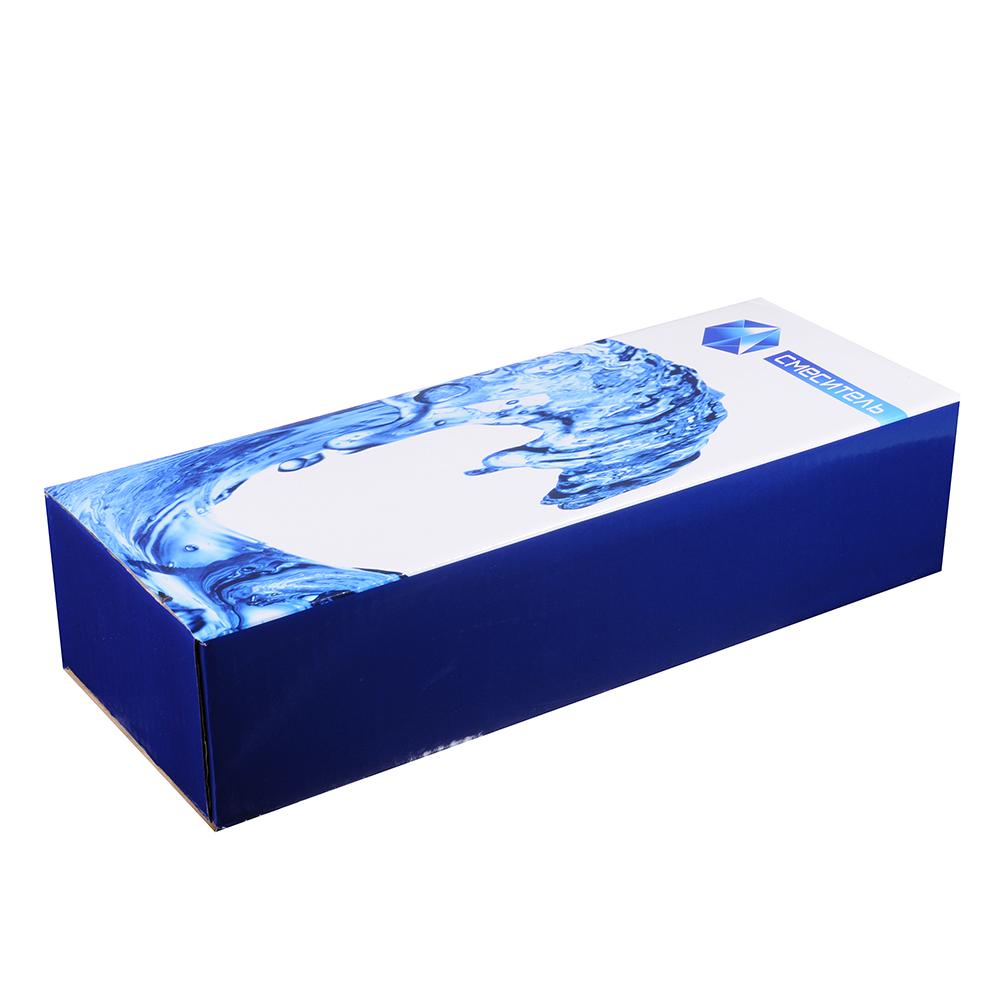 """Смеситель Klabb 26 для ванны, дл. излив, керам. кран-буксы 1/2"""", хром / синий крестик D"""