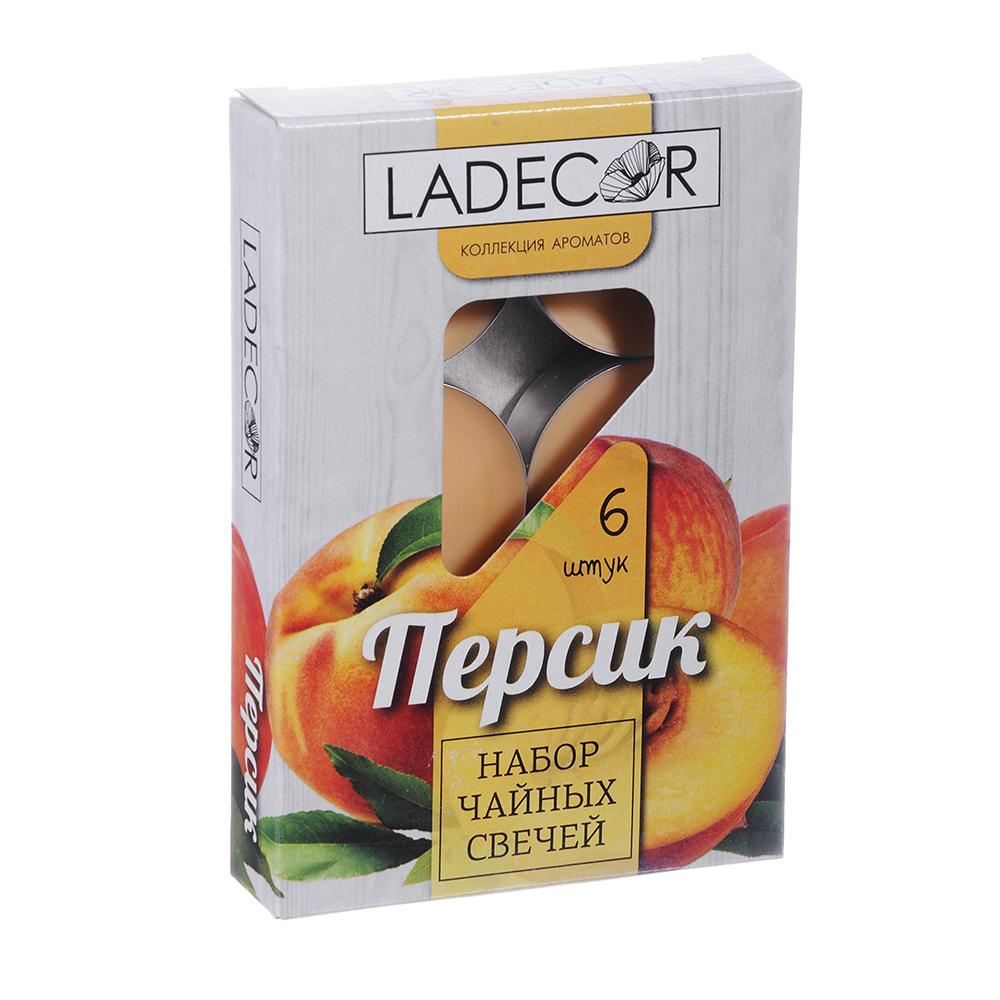 LA DECOR Набор свечей чайных 6шт, парафин, аромат персик, арт.30776