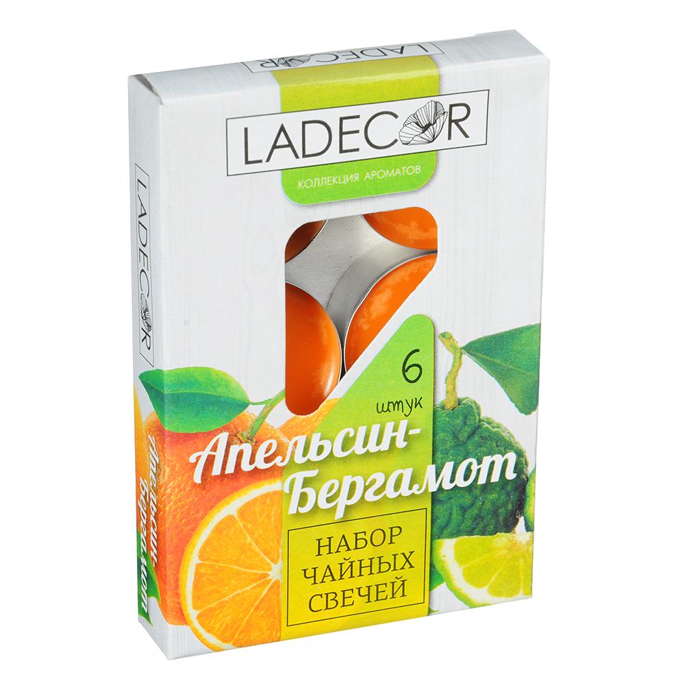 LADECOR Набор свечей чайных 6шт, парафин, аромат апельсин-бергамот, арт.36891
