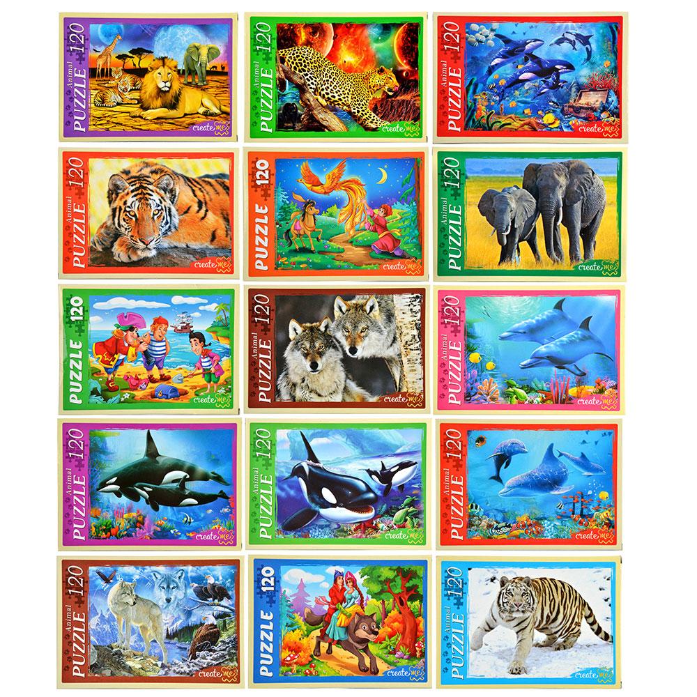 РЫЖИЙ КОТ Пазлы 120 деталей микс, картон, 16,5х22,5см, 16-32 дизайна, П-120-8294
