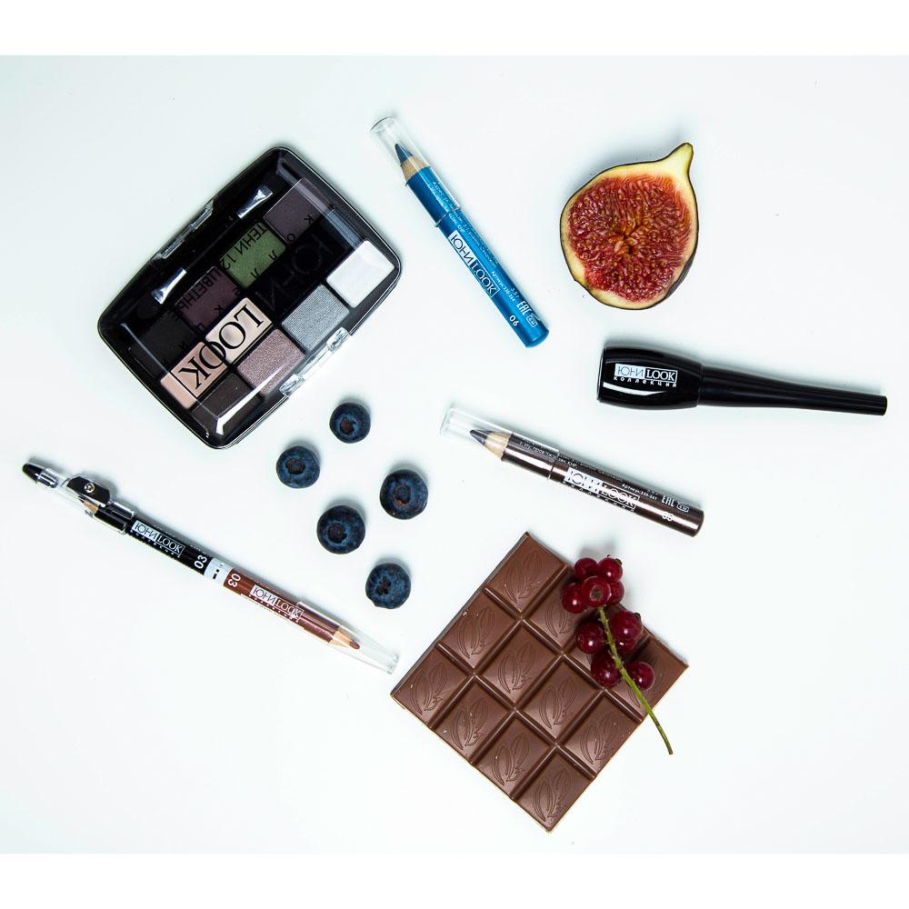 Карандаш для макияжа двойной с точилкой, тон 04 черный/бежевый, 1гх2, ЮниLook К-19