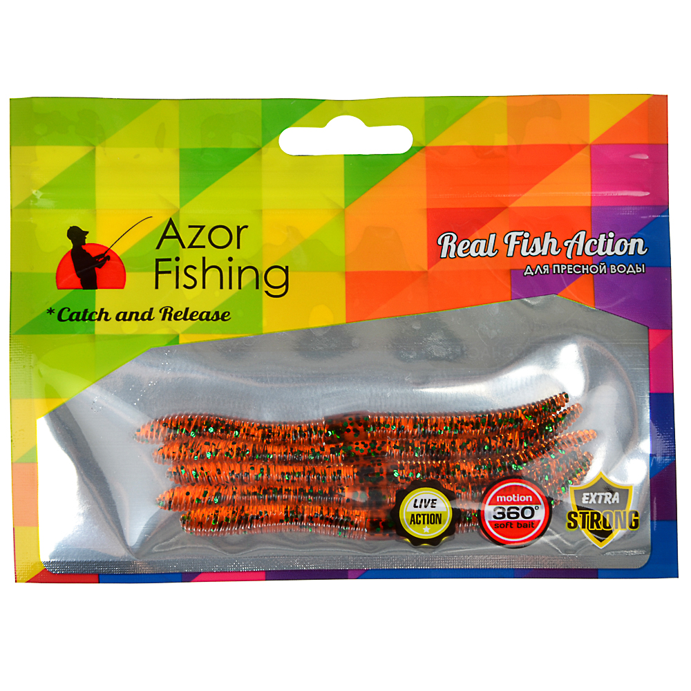 AZOR FISHING Приманка мягкая Червяк 4.0, силикон Премиум, 100 мм, 5 шт. в уп., микс цветов