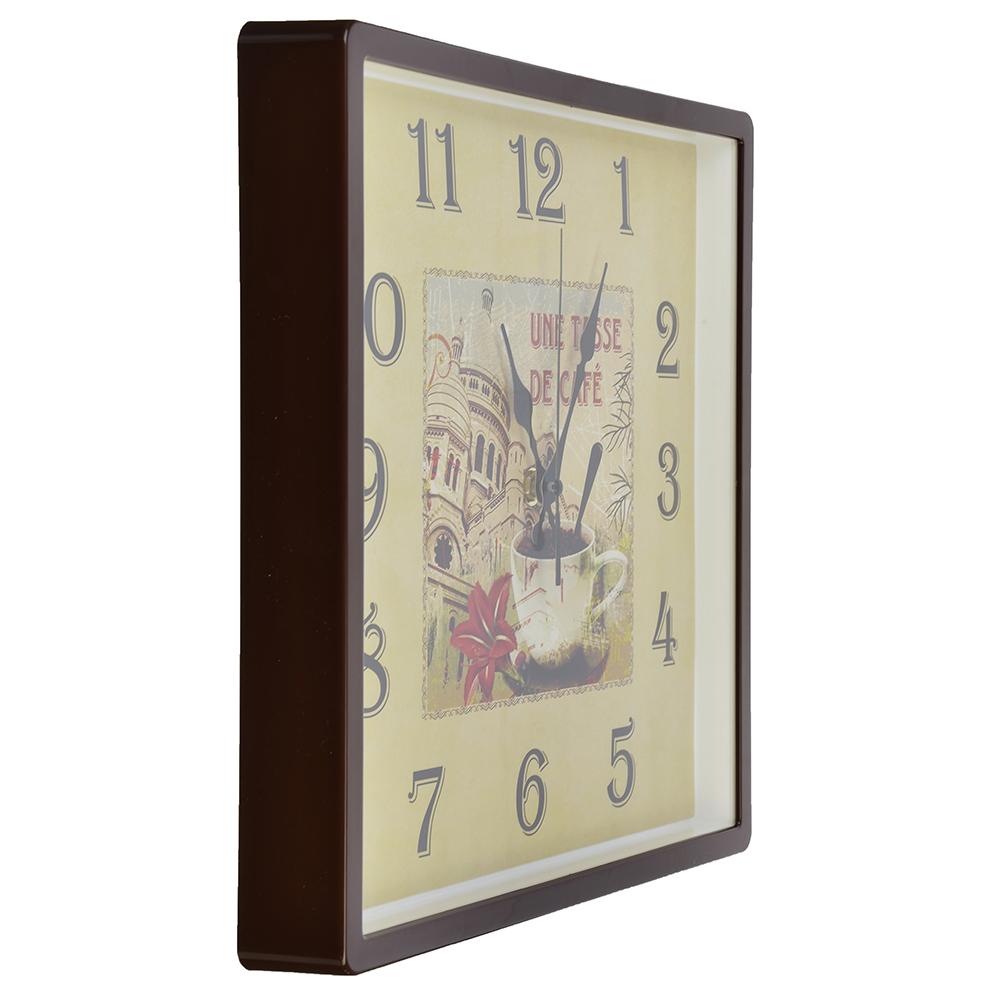 """Часы настенные квадрат 30х30см, пластик, корпус коричневый """"De cafe"""" 3028-128 (10)"""
