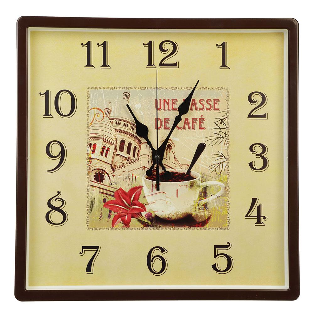"""Часы настенные квадрат, пластик, 30х30см, коричневый, """"De cafe"""""""