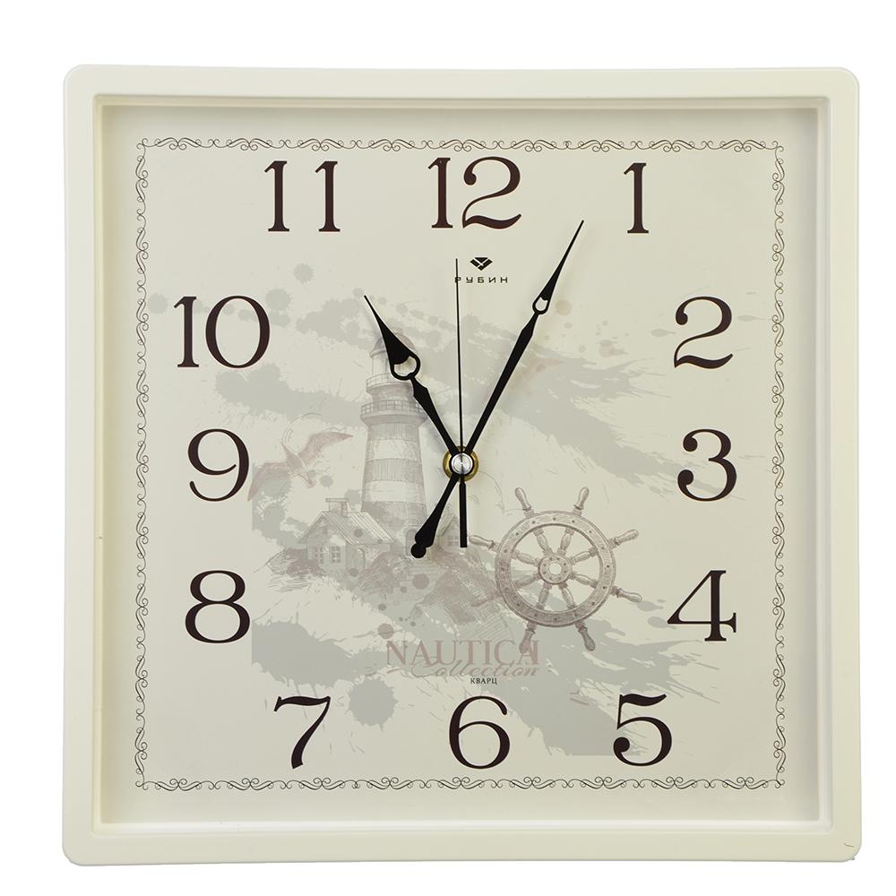 "Часы настенные квадрат, пластик, 30х30см, белый, ""Морские"""