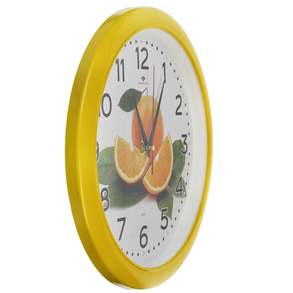 "Часы настенные круг, пластик, d29см, желтый, ""Апельсин"""