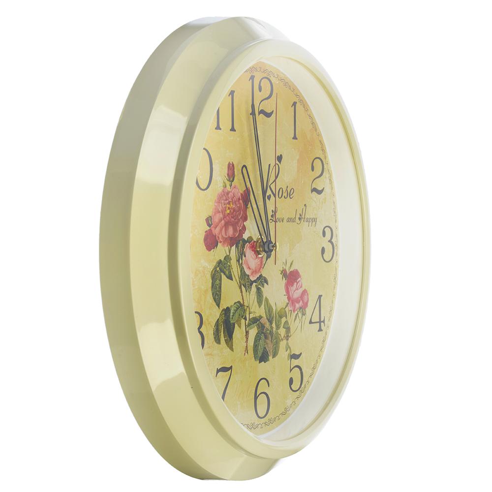 """Часы настенные круг, пластик, d30см, слоновая кость, """"Розы"""""""