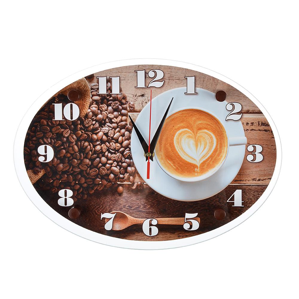 """Часы настенные, стекло, 35х25см, """"Чашечка любимого кофе"""""""