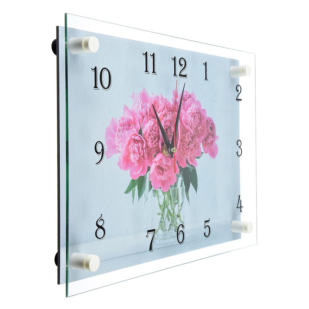 """Часы настенные, стекло, 35х25см, """"Пионы и сирень в вазе"""""""