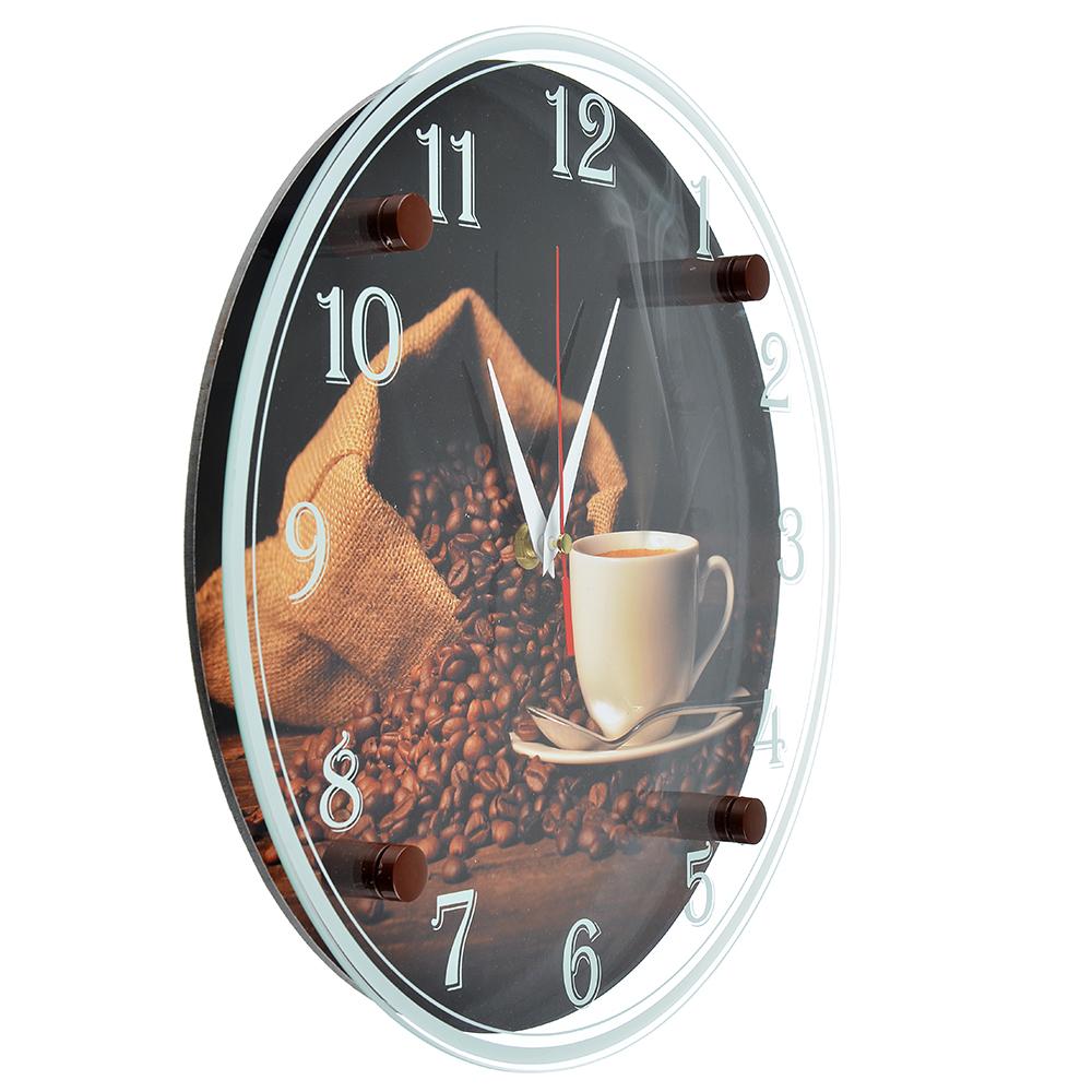 """Часы настенные, стекло, 30см, """"Чашечка любимого кофе"""""""