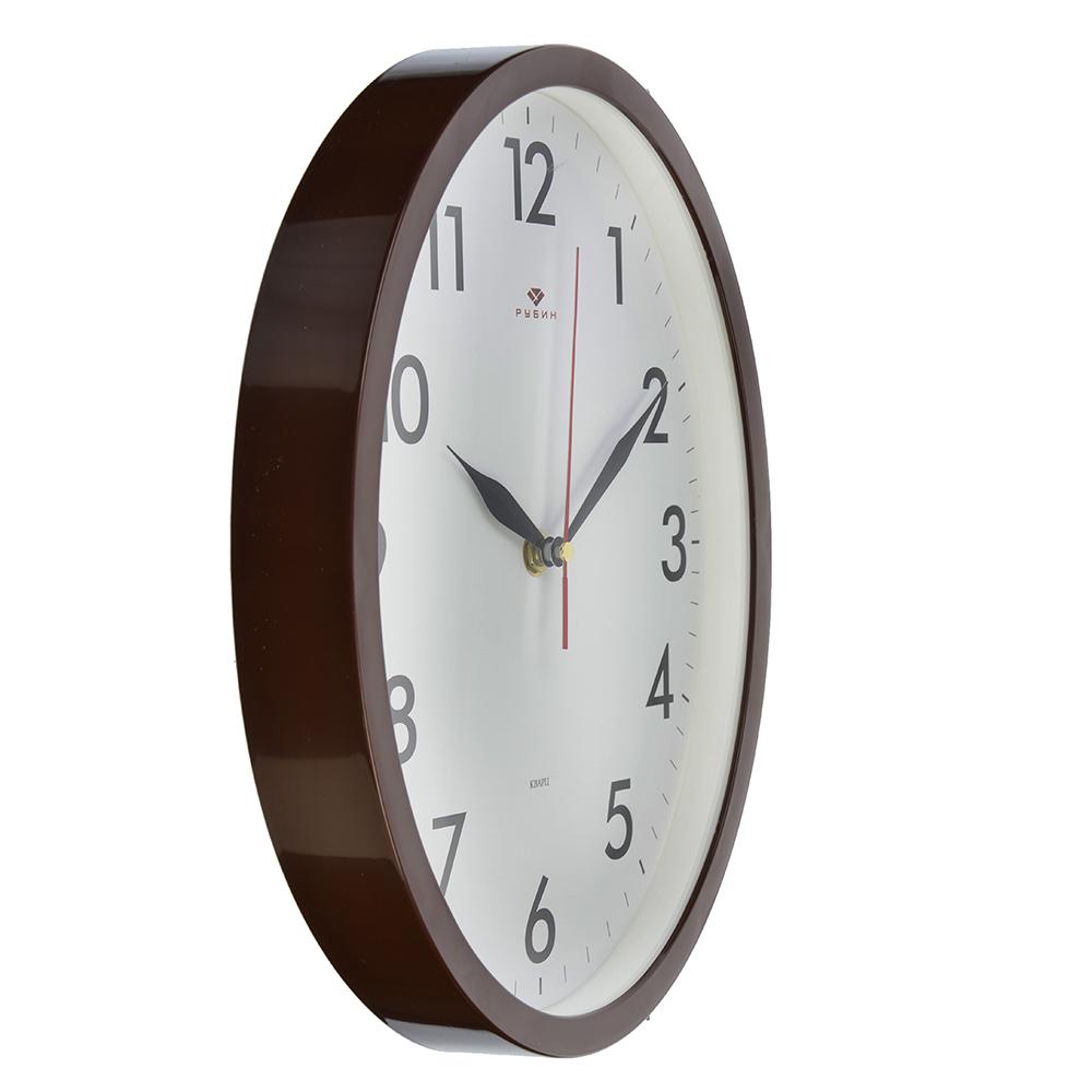 """Часы настенные овальные, пластик, 22,5х29см, коричневый, """"Классика"""""""